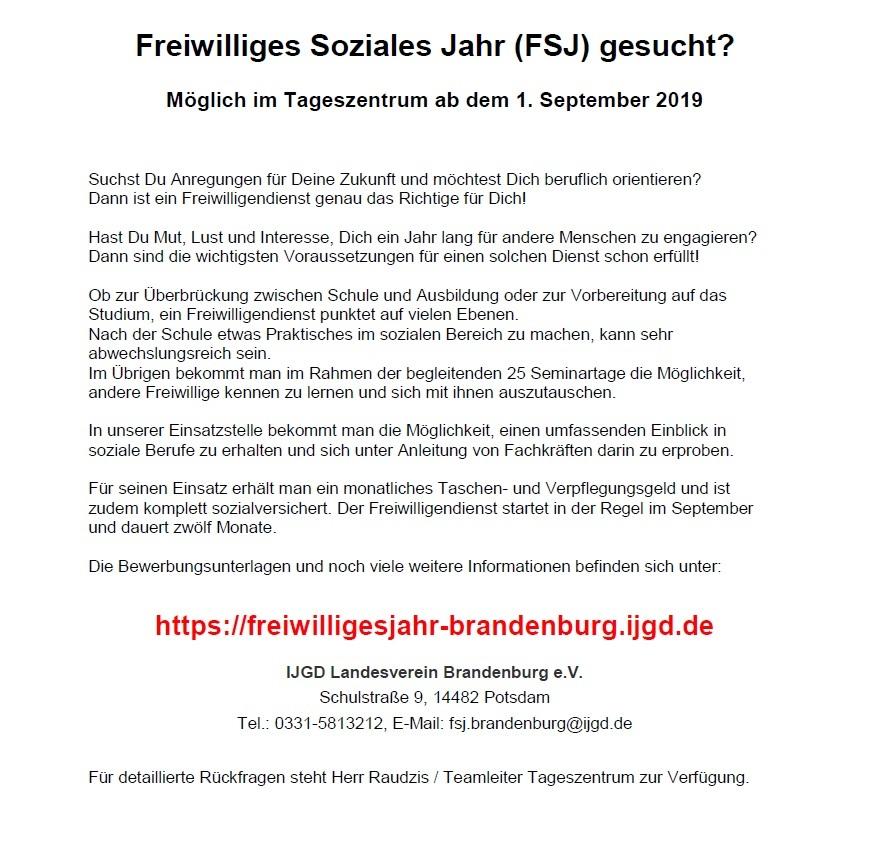 Aufruf FSJ 2019