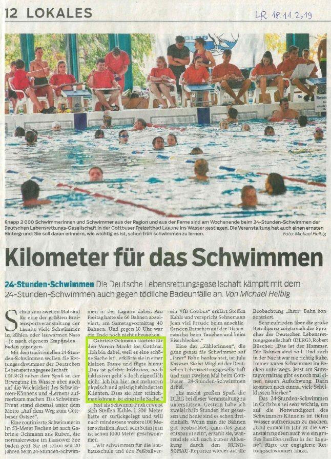 Artikel 24-Stunden-Schwimmen 2019